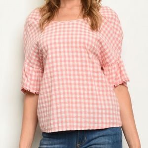Gilli Top Gingham Checkered Crossover Back Small